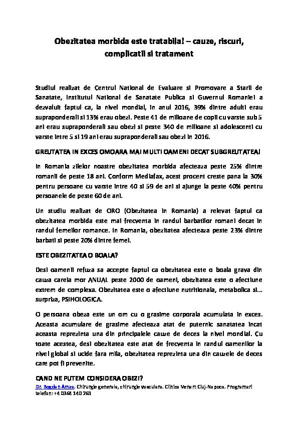 PREVENȚIA ȘI MANAGEMENTUL OBEZITATII - Revista Galenus
